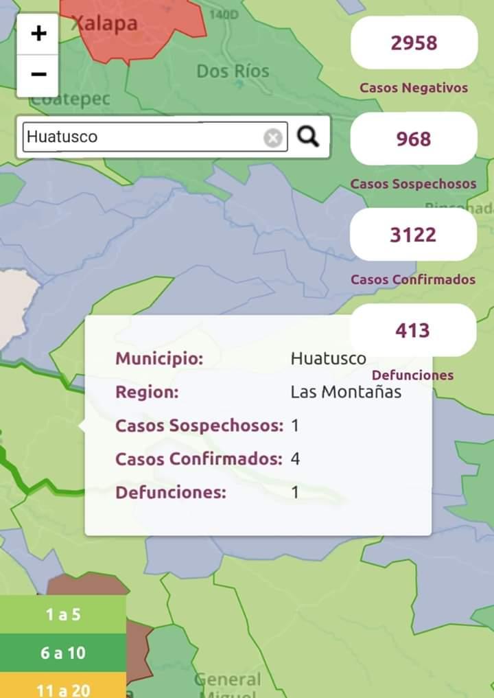 SUBEN A 4 LOS CASOS DE CORONAVIRUS EN HUATUSCO