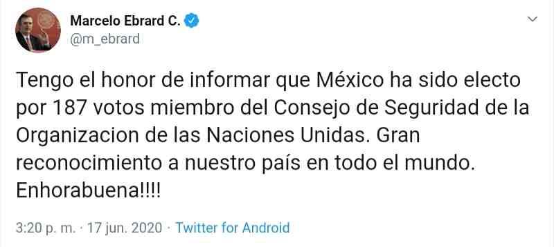 ELIGEN A MÉXICO COMO MIEMBRO DEL CONSEJO DE SEGURIDAD DE LA ONU