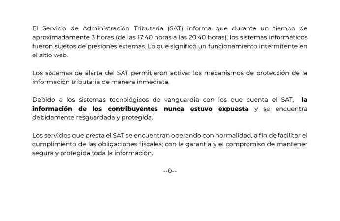 SAT SUFRE INTENTO DE HACKEO; INFORMACIÓN DE CONTRIBUYENTES NO ESTUVO EXPUESTA