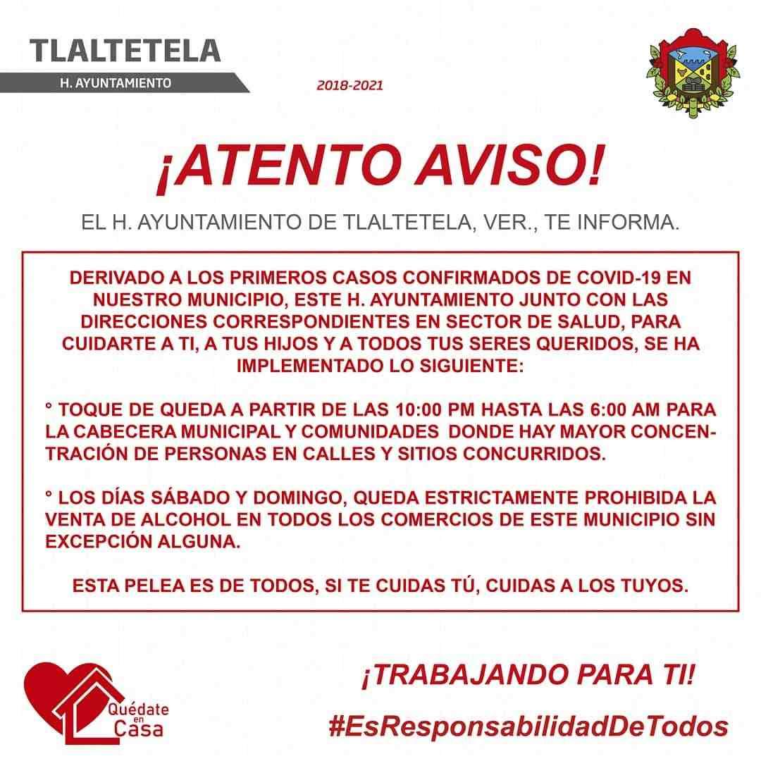 ALCALDE DE TLALTETELA IMPONE TOQUE DE QUEDA