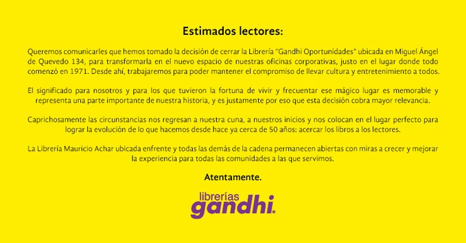 CIERRA LA PRIMERA LIBRERÍA GANDHI EN CDMX