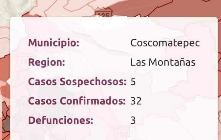 COVID SIGUE EN ASCENSO EN COSCOMATEPEC