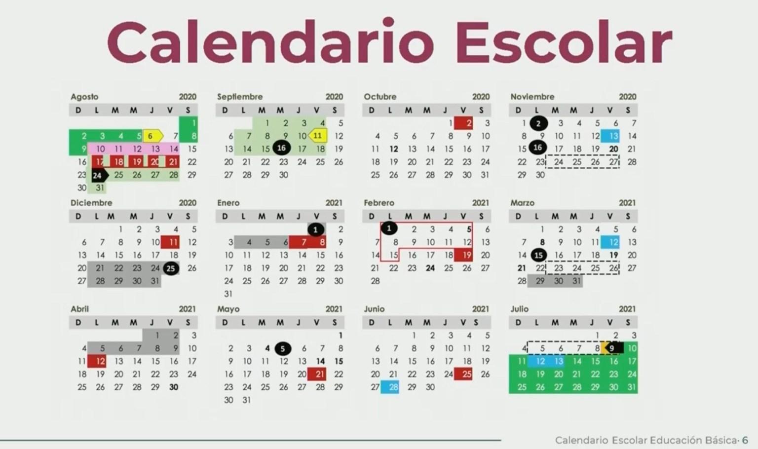 SEP PRESENTA CALENDARIO OFICIAL DEL CICLO ESCOLAR 2020-2021