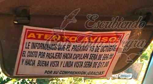 DENUNCIAN AUMENTO DE PASAJE DE MIXTO RURAL