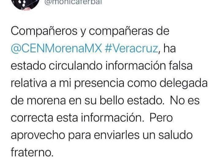 RECHAZA MÓNICA FERNÁNDEZ HABER SIDO NOMBRADA DELEGADA DE MORENA EN VERACRUZ