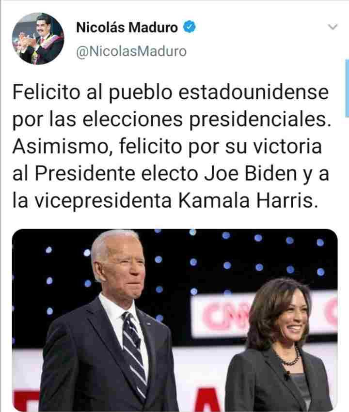NICOLÁS MADURO FELICITA A JOE BIDEN