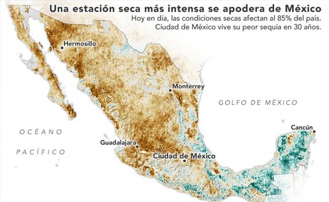 NASA ALERTA POR INTENSA SEQUÍA QUE AFECTA A MÉXICO