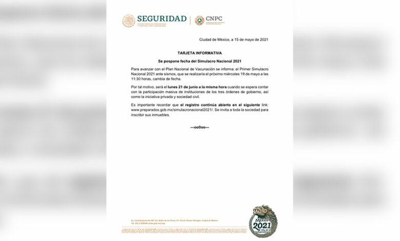 POSPONEN SIMULACRO NACIONAL DE SISMOS POR VACUNACIÓN